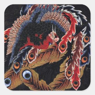 鳳凰図, 北斎 Chinese Phoenix, Hokusai, Art Stickers