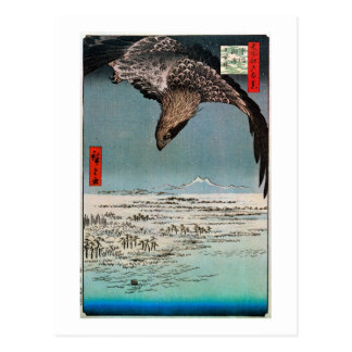 鷲と雪景色, 広重 Eagle and Snow Scene, Hiroshige Postcard