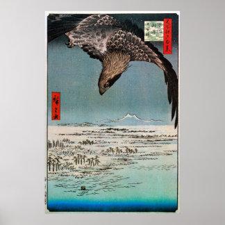 鷲と雪景色 広重 Eagle and Snow Scene Hiroshige Print