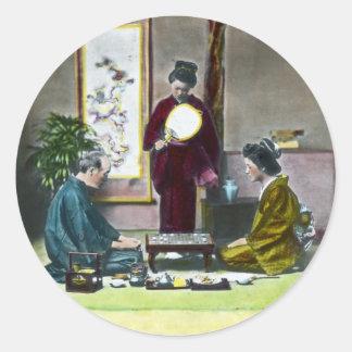 麻雀 tradicional de Mahjong del japonés del vintage Pegatina Redonda