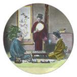 麻雀 tradicional de Mahjong del japonés del vintage Platos Para Fiestas