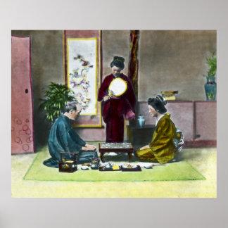 麻雀 tradicional de Mahjong del japonés del vintage Póster