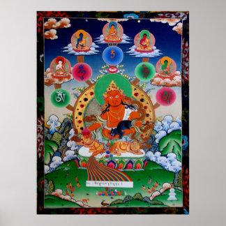 黃財神5 Buddha Mantra Yellow Jambhala Poster