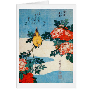 黄鳥と薔薇, 北斎 Yellow Bird and Rose, Hokusai, Ukiyo-e Card