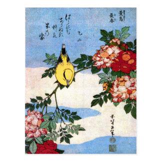 黄鳥長春 Nightingale 葛飾北斎 Hokusai Postcard