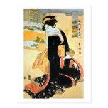 黒い着物の女, 豊国 Woman of Black Kimono, Toyokuni Postcard