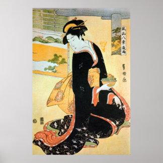 黒い着物の女, 豊国 Woman of Black Kimono, Toyokuni Poster