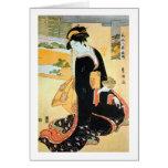 黒い着物の女, mujer del 豊国 del kimono negro, Toyokuni Felicitacion