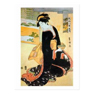 黒い着物の女, mujer del 豊国 del kimono negro, Toyokuni Tarjetas Postales