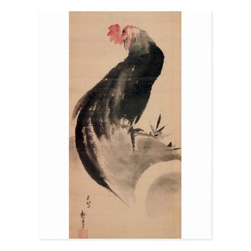 黒い雄鶏, gallo negro del 北斎, Hokusai Postal