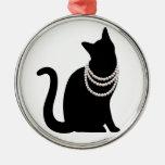 黒猫と宝石 セラミックオーナメント ADORNO NAVIDEÑO REDONDO DE METAL