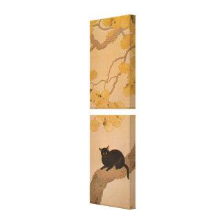 黒猫, 春草 Black Cat, Shunsō, Japanese Art Canvas Print