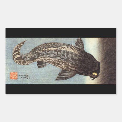黒鯉, carpa negra del 国芳, Kuniyoshi, Ukiyoe Pegatina Rectangular