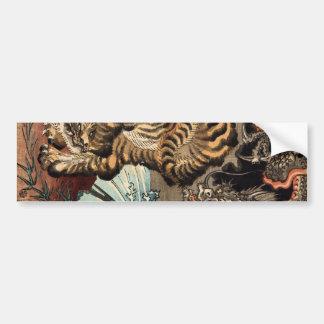 龍虎, 国芳 Tiger & Dragon, Kuniyoshi, Ukiyo-e Bumper Sticker