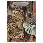 龍虎, 国芳 Tiger & Dragon, Kuniyoshi, Ukiyo-e Clipboard