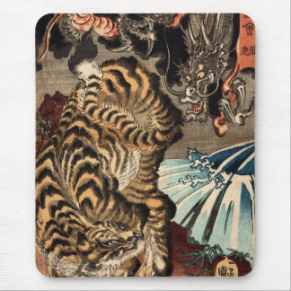 龍虎, 国芳 Tiger & Dragon, Kuniyoshi, Ukiyo-e Mouse Pad