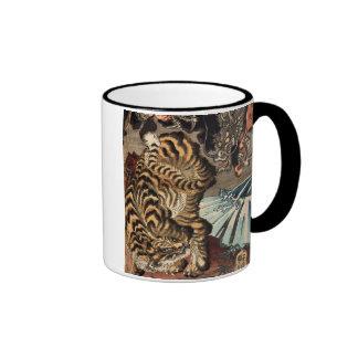 龍虎, 国芳 Tiger & Dragon, Kuniyoshi, Ukiyo-e Ringer Mug