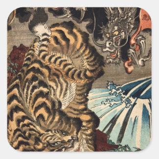 龍虎, 国芳 Tiger & Dragon, Kuniyoshi, Ukiyo-e Square Sticker