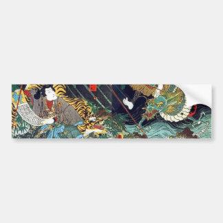 龍虎 豊国 Dragon Tiger Toyokuni Ukiyo-e Bumper Sticker