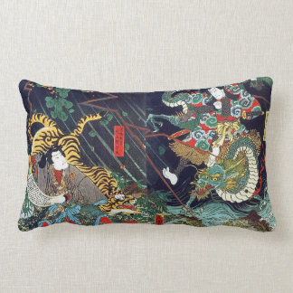 龍虎, 豊国 Dragon & Tiger, Toyokuni, Ukiyo-e Lumbar Pillow