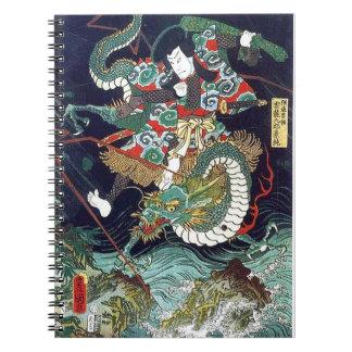 龍虎, 豊国 Dragon & Tiger, Toyokuni, Ukiyo-e Spiral Note Book