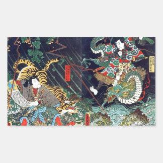 龍虎, 豊国 Dragon & Tiger, Toyokuni, Ukiyo-e Rectangular Sticker
