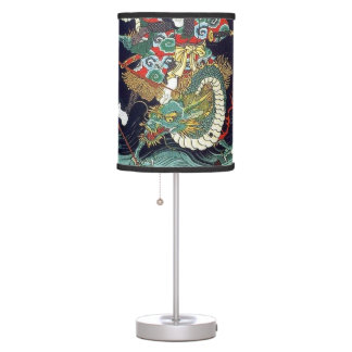 龍虎, 豊国 Dragon & Tiger, Toyokuni, Ukiyo-e Table Lamp