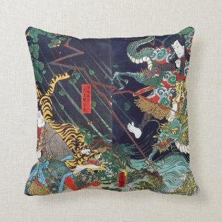 龍虎, dragón y tigre, Toyokuni, Ukiyo-e del 豊国 Almohadas