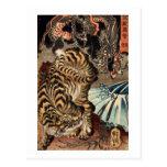 龍虎, tigre y dragón, Kuniyoshi, Ukiyo-e del 国芳 Postal