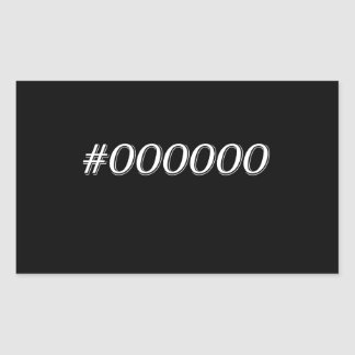 #000000 Black Rectangular Sticker
