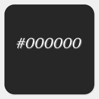 #000000 Black Square Sticker