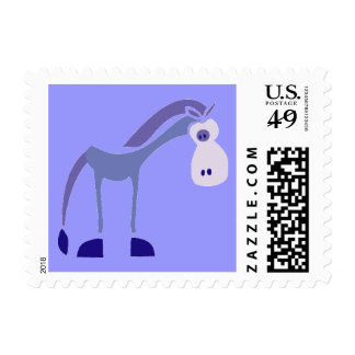 0001 gifhorse PURPLE CARTOON HORSE FUNNY GRAPHIC K Postage