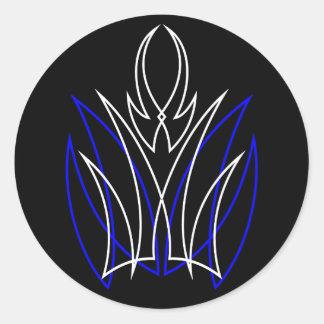0001 Pinstripe Azul-Blanco Round Stickers