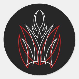 0001 Red & White Pinstripe Classic Round Sticker