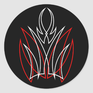 0001 Red White Pinstripe Round Sticker