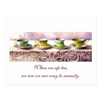 0001 Row of Teacups Alexandra Stoddard Postcard