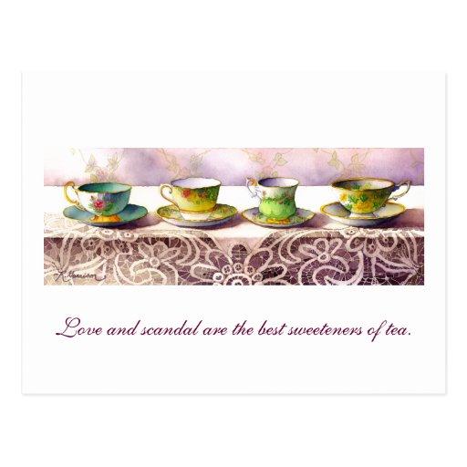 0001 Row of Teacups Henry Fielding Postcard