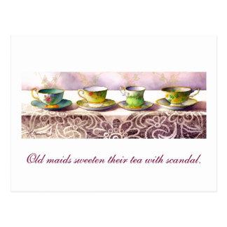 0001 Row of Teacups Josh Billings Postcard