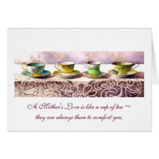 0001 Row of Teacups Mother's Day Card