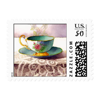 0001 Row of Teacups on Lace Postage
