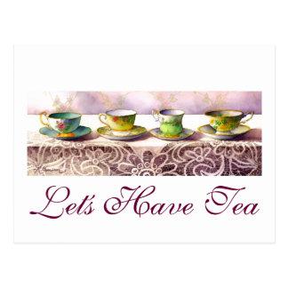 0001 Row of Teacups Postcard