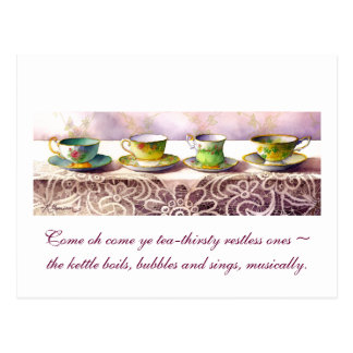 0001 Row of Teacups Rabindranath Tagore Postcard