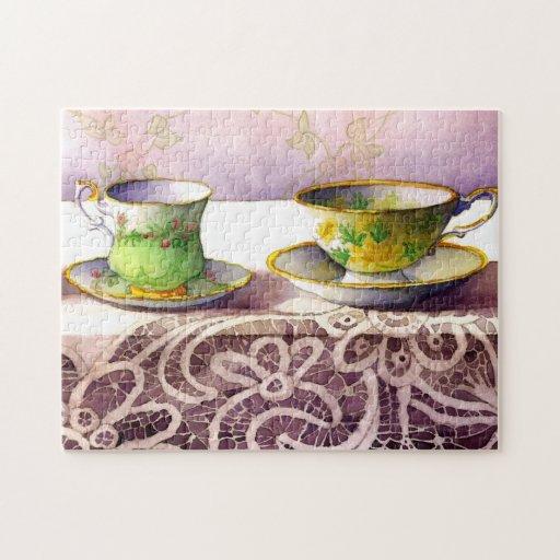 0001 tazas de té en rompecabezas del cordón