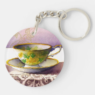 0001 Teacup on Lace Keychain