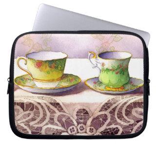 0001 Teacups on Lace Laptop Sleeve