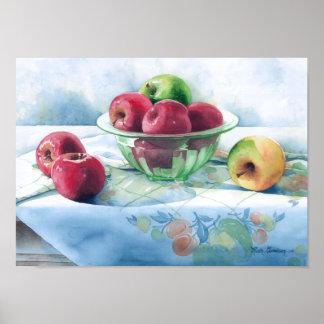 0002 Apples in Green Glass Bowl Art Print