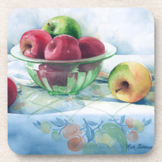 0002 Apples in Green Glass Bowl Cork Coasters