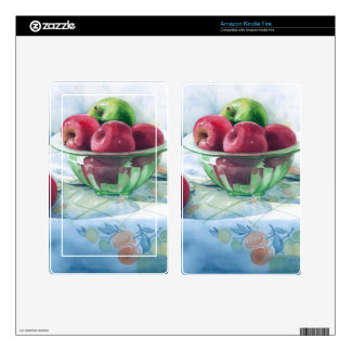 0002 Apples in Green Glass Bowl Decal For Kindle Fire