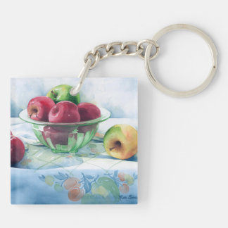 0002 Apples in Green Glass Bowl Keychain Acrylic Key Chains