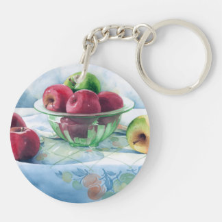 0002 Apples in Green Glass Bowl Keychain